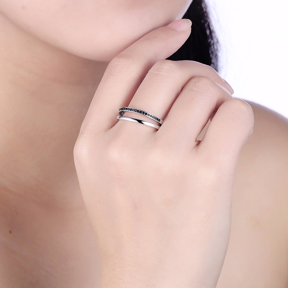 INALIS Genuine 925 Sterling Silver Double Circle Black Clear CZ ...