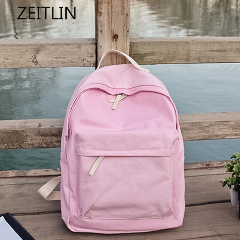 Fresh Style Solid Simple Backpack Female Cotton Canvas Design Women Shoulder Bag Leisure Personality Knapsack for teenager KPBB simple style solid colour and zip design shoulder bag for women