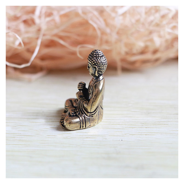 Mini Portable Vintage Brass Buddha Statue Pocket Sitting Buddha Figure Sculpture Home Office Desk Decorative Ornament Toy Gift 5