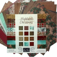 New 12 inch Highland Christmas Doule side handmade background paper pad patterns 24sheets,DIY Scrapbooking Paper pack craft