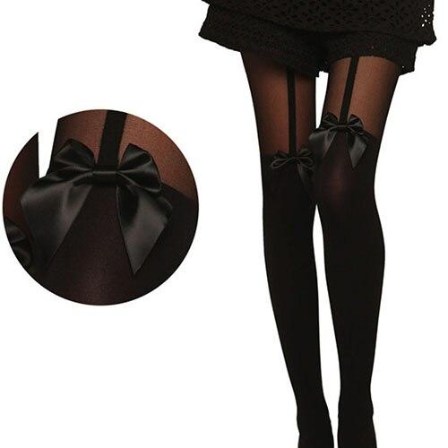 Women Vintage Tights Bowknot Tattoo Mock Suspender Sheer Stockings Pantyhose