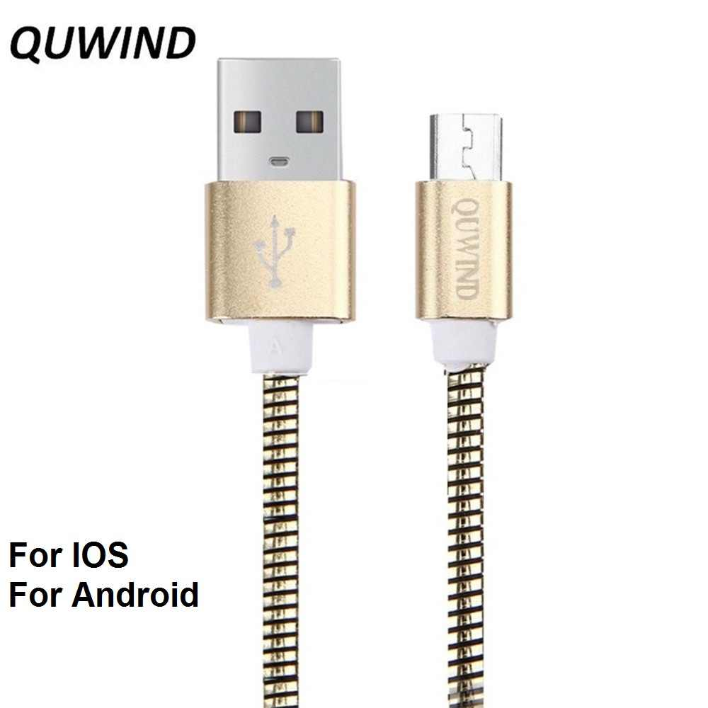 Alta calidad Metal suave manguera Micro Usb 8Pin cargador de Cable de datos para HuaWei Samsung Android iPhone X 8 7 6 6 Plus 5S iPad aire Mini
