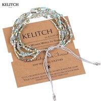 Classic Pink Bracelets Woven Gold Seed Bead Crystal Charm Bangle Women Fashion Handcraft Bohemia Women Jewlery