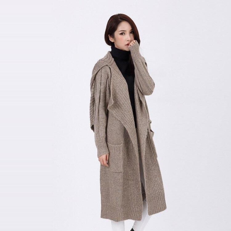 Mode bleu Col Femmes Chandails vêtements Trench Lâche Écharpe Femme Long Cardigans Tricot Chic 2016 Manteau noir Épais Avec Automne Beige Casual pRZqnOPf