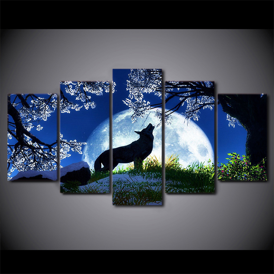 Full Square round 5D DIY Diamond Painting 5 Piece Abstract Blue Moon Night wolf Diamond Embroidery
