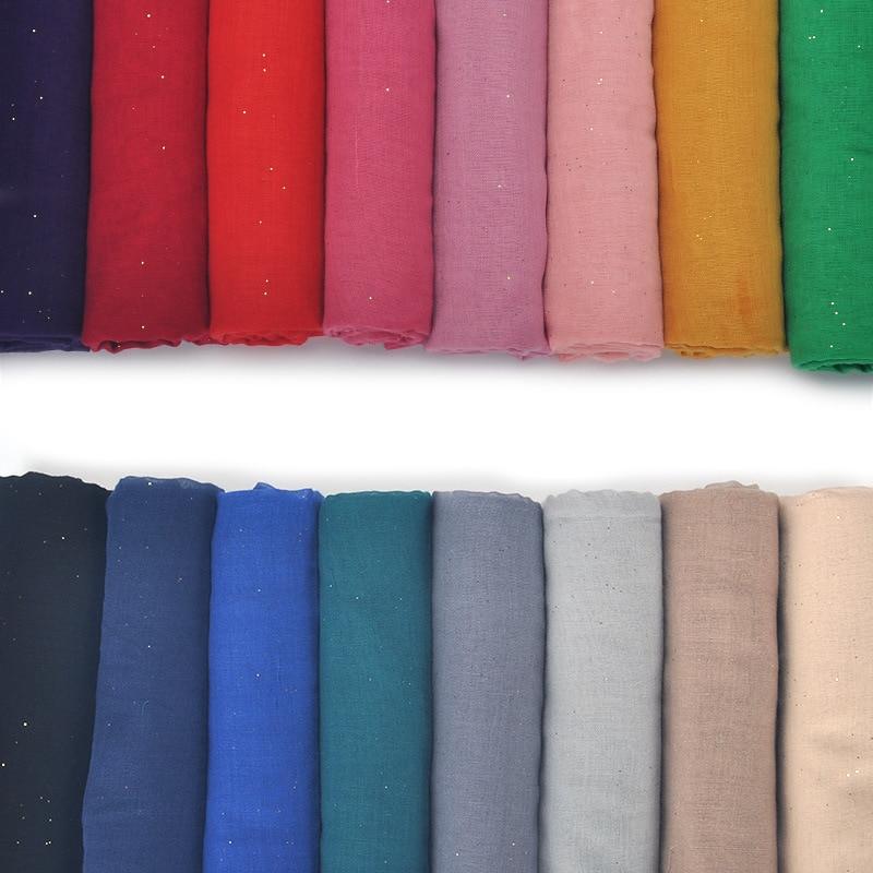 ZFQHJJ 10pcs/lot Women Cotton Scarf Shiny Sparking Plain Solid Muslim Hijab Scarfs Shawl India Palestine Turkish Islamic Hijabs