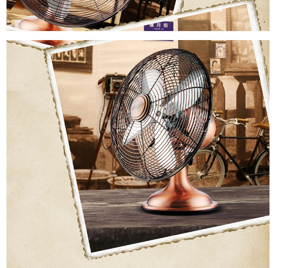 Retro fan 12 inch bench type pure copper motor antique copper fan 4 piece fan 3 files Shake head aroundRetro fan 12 inch bench type pure copper motor antique copper fan 4 piece fan 3 files Shake head around
