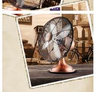Retro fan 12 inch bench type pure copper motor antique copper fan 4 piece fan 3 files Shake head around
