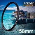 Zomei 58 mm Ultra Slim filtro CPL CIR-PL polarizador Circular polarizador de filtro para Olympus Sony Nikon Canon Pentax Hoya Lens 58 mm