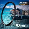 Zomei 58 mm Ultra delgado CPL filtro CIR-PL polarizante Circular filtro polarizador para Olympus Sony Nikon Canon Pentax Hoya lente 58 mm