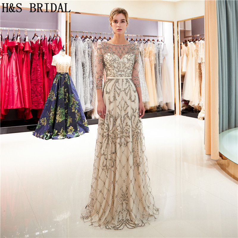 H&S BRIDAL Arabic long sleeve   Evening     Dresses   2019 luxury heavy beading prom   evening   gowns vintage   evening     dress