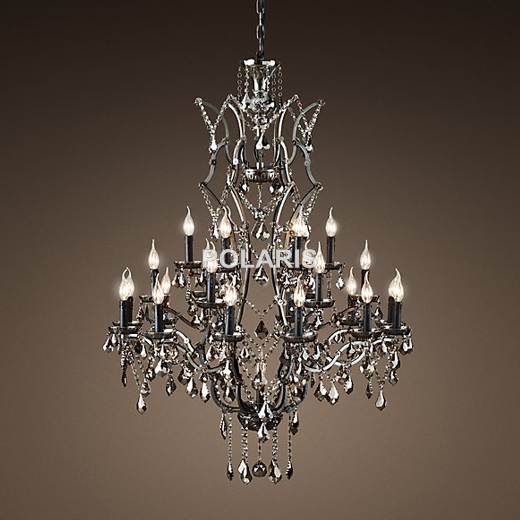 Vintage Smoky Crystal Chandelier Lighting Candle Chandeliers Pendant Lamp Hanging Light for Dining Room