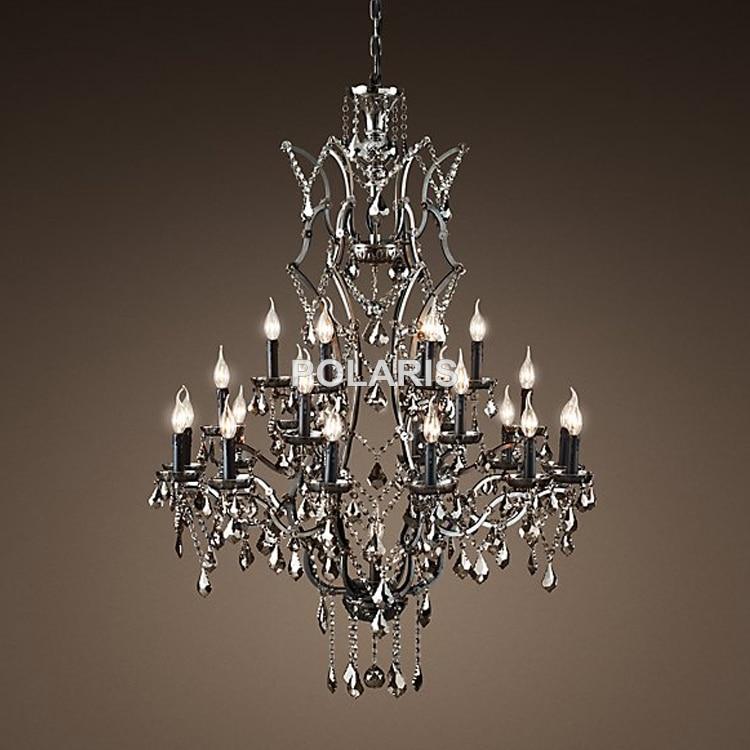 Vintage Smoky Kristalni lestenec Luči za sveče Sveče Viseča svetilka Viseča lučka za jedilnico