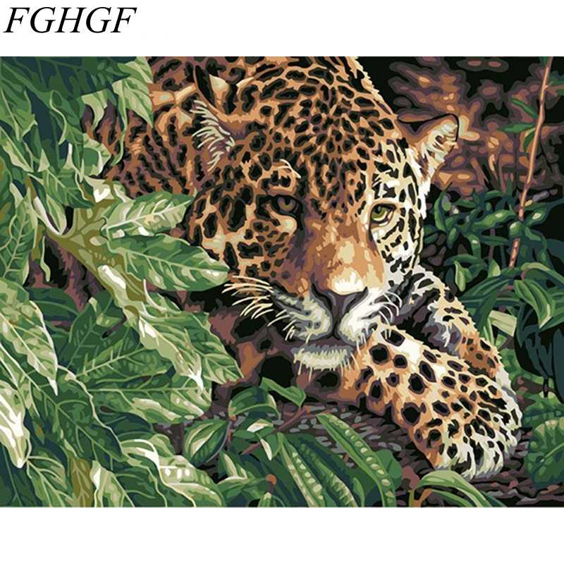 FGHGF New Frameless Wall Pictures Leopard Painting By Numbers Home Decor Hand Painted Oil On Canvas 40cm*50cm