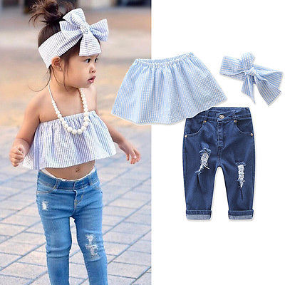 549720decfac 2PCS Fashion Clothes Set Baby Girls Kids Jeans Summer Casual Striped Tops+Ripped  Denim Pants Outfits Set -in Clothing Sets from Mother   Kids on ...