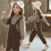 Korean wholesale clothing factories in china Bib pants Two piece suit girls boutique clothing Autumn winter children clothes
