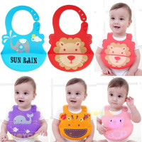 TAF TOYS Baby Bibs Waterproof Silicone Feeding Infant Saliva Towel Newborn Cartoon Aprons Baby Food Grade