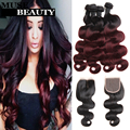 Modern 1B Burgundy Peruvian Virgin Hair With Closure Ombre Body Wave Bundles Rosa 10A Peruvian Ombre Body Wave With Closure 5pcs