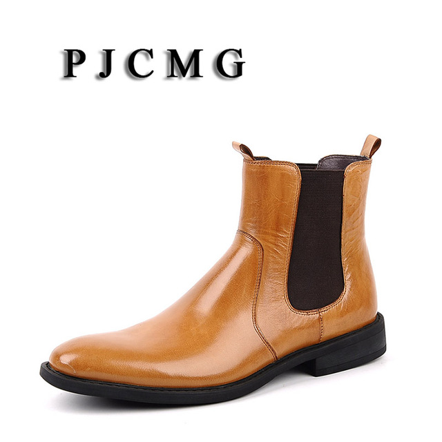 PJCMG New Autumn/Winter Genuine Leather Black/Brown Pointed Toe Cowhide Men's Brogue Wedding Office Ankle Slip-On Footwear Boots