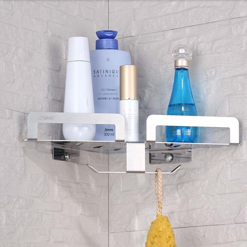 ФОТО Wholesale And  Retail Free Shipping Bathroom Shelf Corner Storage Holder W/ Bath Accessories Hooks Hangers Stainless Steel