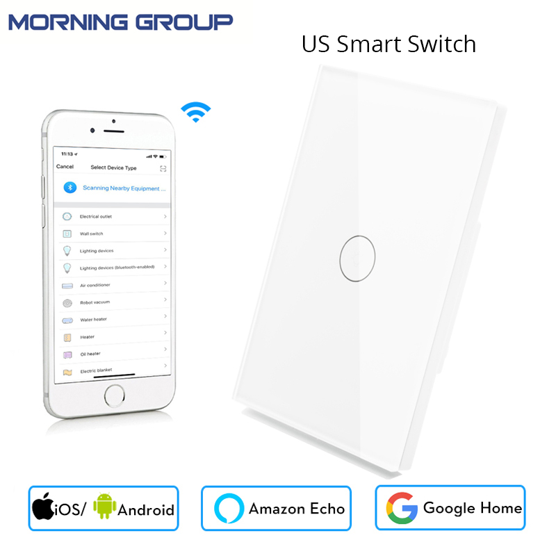 Wifi Smart Wall Touch US Switch 1 Gang Glass Panel APP Remote Control Works with Amazon Alexa Google Home No Hub Required