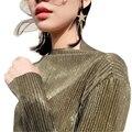 Mujeres Metallic Sparkle Jersey Largo de la Manga En la Costilla de Oro/Verde/Astilla Opciones de Color 2017 Nuevas Llegadas