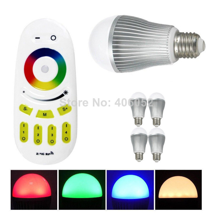 RGBW wifi ampoule 9 W mi lumière E27 AC110-240V, 16 mi llion couleur. ampoule led wi-fi avec contrôleur (1 pièces ampoule led + 1x contrôleur)