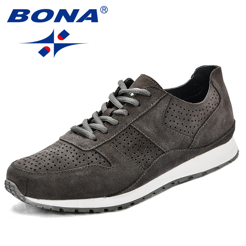BONA New Popular Style Men Sneakers Cow Suede Lace Up Men Casual Shoes Cutouts Durable Outsole Men Flats Light Free Shipping bona new fashion style men casual shoes lace up men loafers up outsole men flats comfortable male shoes light free shipping