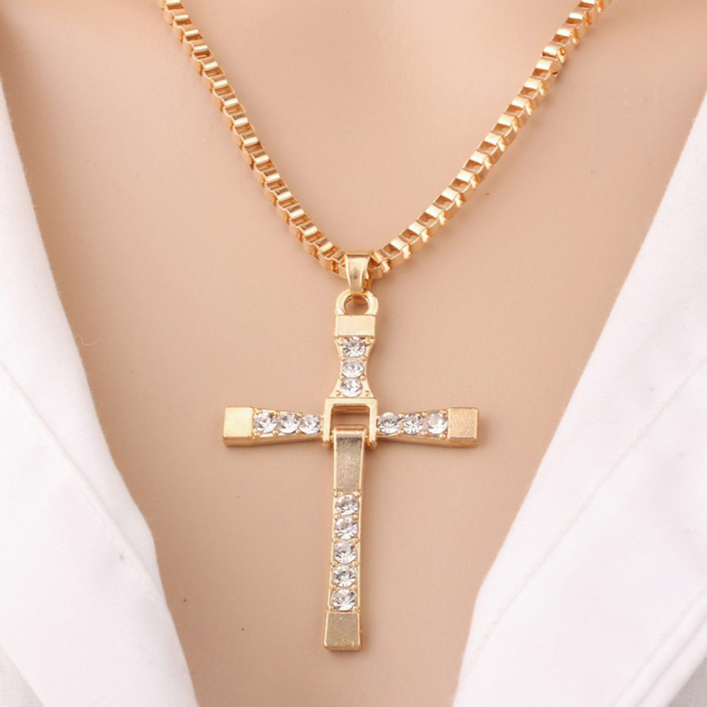 Fast And Furious Cross Pendant Necklace With Little Crystal Gold/Silver Color Tone for Man and Women