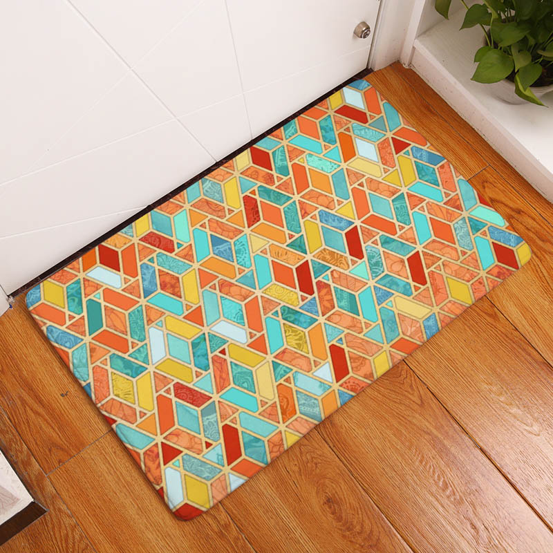 Geometric Printing Flannel Carpet Multicolor Plaid Pattern Mat For Living Room 40x60cm Hallway Rectangle Tapete