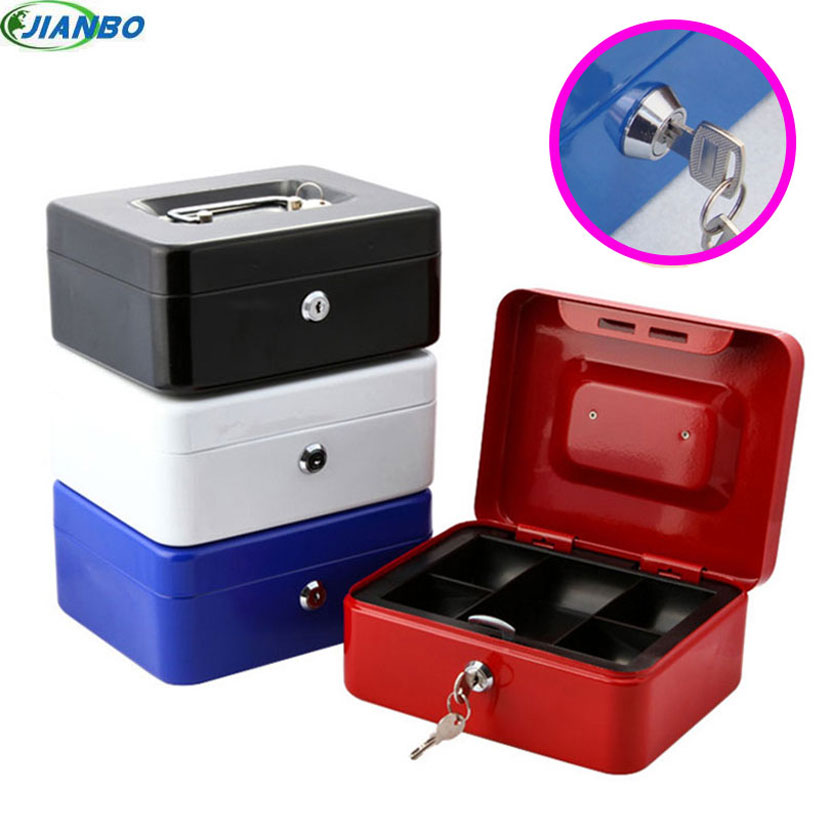 New Portable Steel Lock key Cash Money Safe Security Box China For School Office Keys Lockable Coin Outdoor White Storage Items
