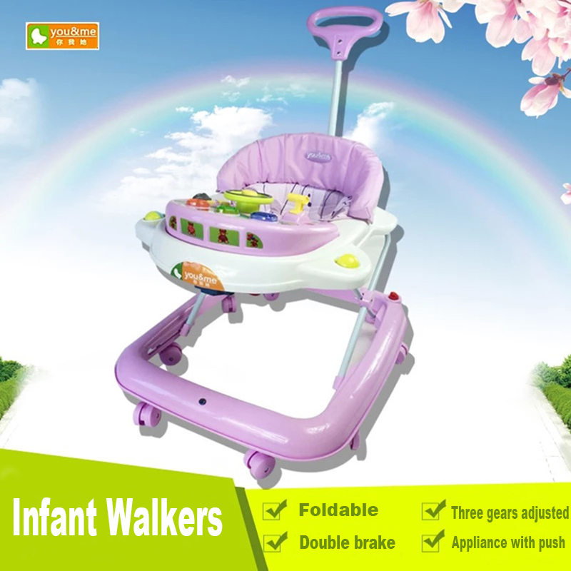 цена на High Quality Baby Walker With Wheels Baby Stroller Multifunctional Car Baby Walker Musical Folding Infant Walkers
