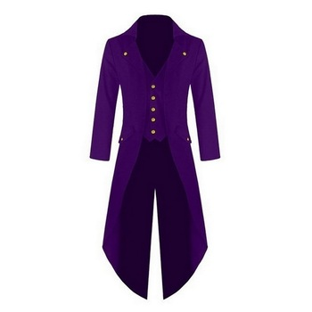WENYUJH Men Vintage Suit Jacket Long Tuxedo Vintage Steampunk Retro Tailcoat Single Breasted Gothic Victorian Frock Coat Cosplay Men's Suit Jackets