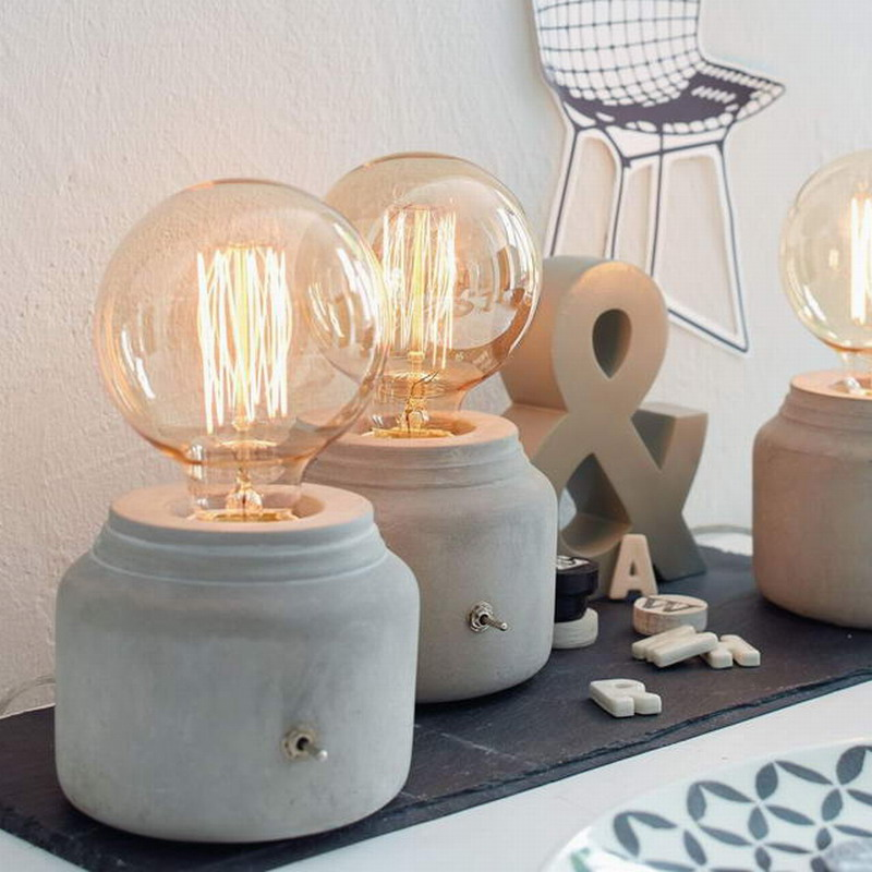 Modern Mini Funny Grey Concrete Cement Bedside Table Lamp