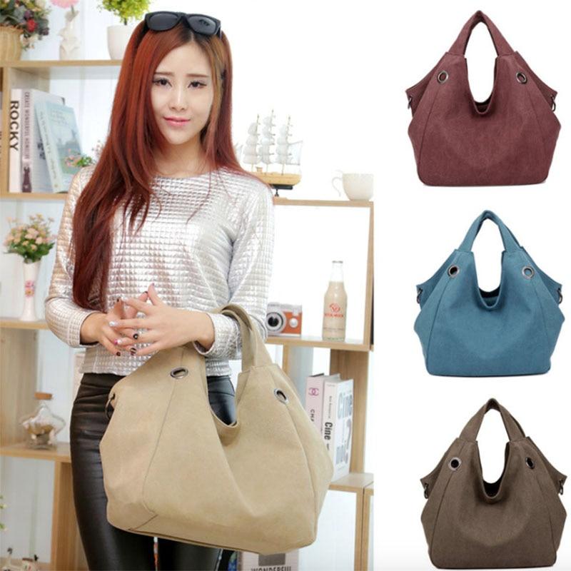 2018 Promotion Zipper Solid Soft Hobos Vintage New European And American Canvas Handbags Large Capacity Female Shoulder Bag