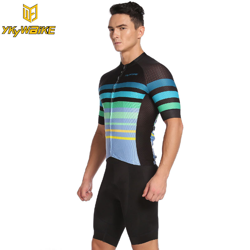 YKYWBIKE Men Cycling Jersey Set 3D Padded 2017 Summer Cycling Set Bike Clothing Black and Green Ropa Ciclismo Short sleeve Suit