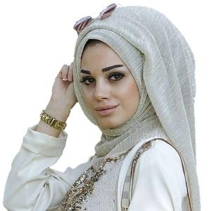 Image 5 - NEW shimmer pleated hijab scarf plain shiny crinkle shawl fashion muslim hijabs women maxi veils shawls islamic scarf 20color