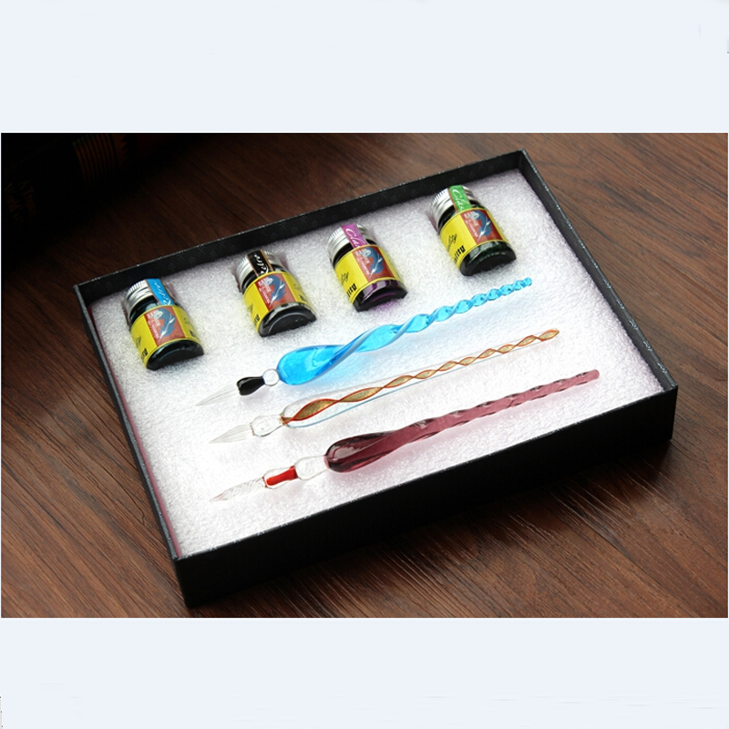 High Quality New Fashion Glass Dip Pen Set 3 Pens 4 Inks 1 Gift Box tlp627 1 dip 4 p627