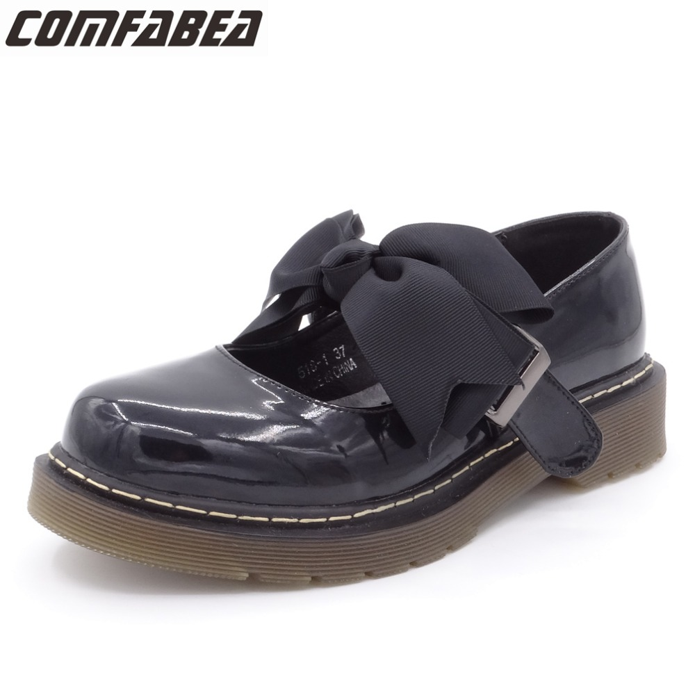 COMFABEA 2018 Spring Autumn Flats Shoes Women Flats Oxfords Creepers platform shoes Sweet Bow Student Shoes Ladies Casual shoes camel shoes ladies sweet bow sheepskin shoes elegant ladies increased within shoes soft surface a93194626