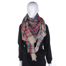 Women Blanket Scarves Oversized Tartan Shawl Wrap Plaid Multicolor Checked Pashmina Valentine s Day Gift 2016