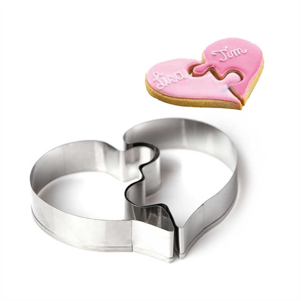Creative Love Puzzle Cookie Cutting Mould Heart Shape Stainless Steel Cookie Mold DIY Fondant Cake Biscuit Decorating Tools