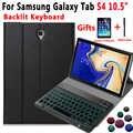 Teclado retroiluminado funda para Samsung Galaxy Tab S4 10,5 2018 SM-T830 SM-T835 T830 T835 Slim cuero Tablet funda con teclado Bluetooth