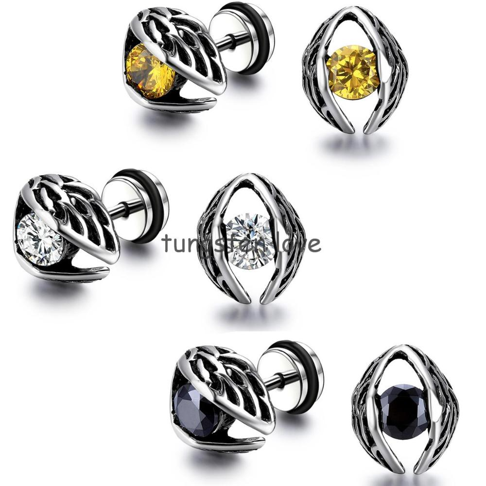 Eyes, Skull Claw, Hollow Heart Design Gothi Vintage Style Stainless Steel  Mens Womens Stud