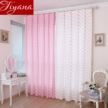 Small Dot Pattern Curtains Korean Fresh Semi Shade Curtains Kids Girls Bedroom Curtains Cloth Tulle Custom