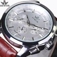 Sewor 최고 브랜드 럭셔리 남자 시계 6 손 3 서브 다이얼 회전 군사 비행가 자동 기계식 시계 파일럿 손목 시계