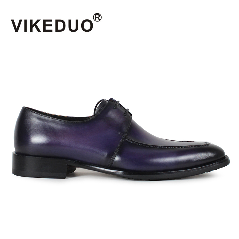 VIKEDUO Brand Fashion Newest Vintage Men Shoes Royal Blue Footwear Italian Hombre Male Luxury Dress Formal Shoe Genuine Leather