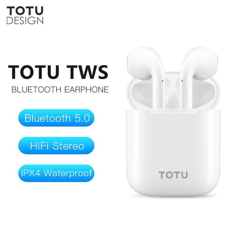 TOTU TWS bluetooth sans fil Écouteur 3D Stéréo Basse Sport Musique casque avec micro pour iphone Xiaomi Samsung