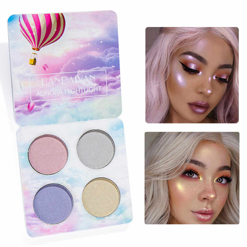 ISHOWTIENDA Pigment Highlighter Shimmer Shine Rainbow Palette Cosmetic Makeup Highlighter Powder Glow Kit Maquillage #10L