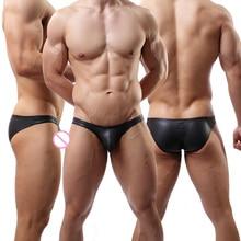 Men's Briefs Black Faux Leather Underwear Male Underpants Sexy PU Leather
