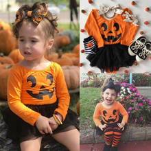 3e63843a6f 2018 Halloween Romper Dress Long Sleeve Orange Tulle Dress Baby Girl Tutu  Romper Halloween Pumpkin Clothes Infant Outfit Costume